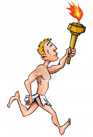 Cartoon olympic athlete running with olympic flame
