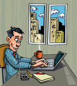 Cartoon office worker busy on his laptop