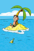 Cartoon of castaway on a desert island