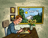 Cartoon man doodling at his desk A window behind him overlooking countryside