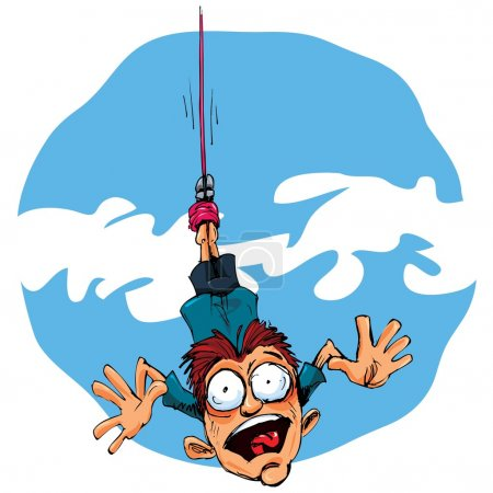 Illustration for Cartoon bungee jumper falling in fear. Blue sky behind - Royalty Free Image