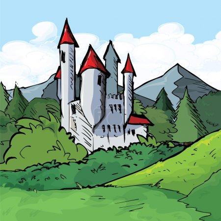 Illustration pour Illustration du Château d'une forêt. Ciel derrière - image libre de droit