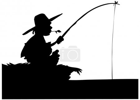 Silhouette of boy fishing. Isolated on white...