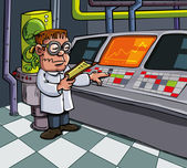 Cartoon scientist in his laboratory Computers and lab equipment behind