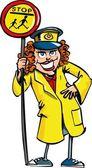 Cartoon of a crossing guard lady