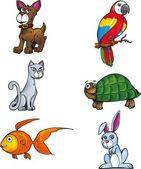 Cartoon set of pet animals