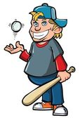 Cartoon of boy with baseball bat and ball