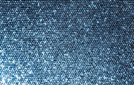 Photo pour Argent tissu composé d'une grille de paillettes mousseux. - image libre de droit