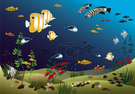 Illustration pour Poissons tropicaux au fond de l'océan - image libre de droit