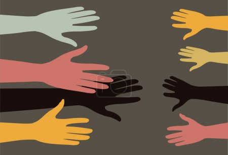 Helping hands different human races