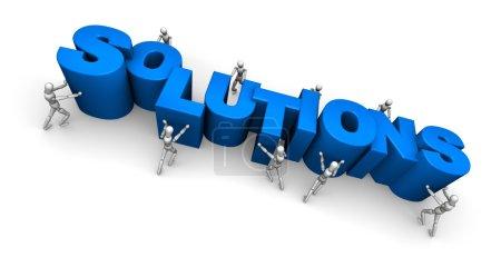 Photo pour Team of Making the Word Solutions. Illustration 3D isolée sur fond blanc . - image libre de droit