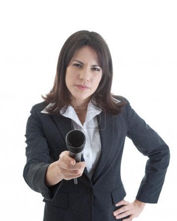 Skeptical Woman Holding Microphone Isolated White
