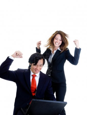 Caucasian Business Woman Jumping, Asian Man Celebrating White Ba