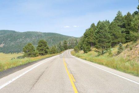 Photo pour Road Curving Away into the Distance. Tourné dans le cratère de Valles Caldera. Le fond du cratère est sur la gauche, la colline en pente vers la droite est le mur du cratère - image libre de droit