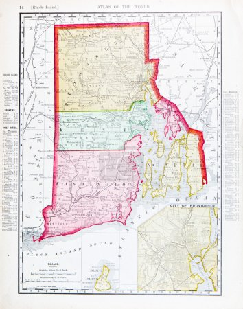 Photo pour Carte ancienne de l'état de Rhode Island, États-Unis, 1900 - image libre de droit