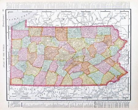 Antique Map Pennsylvania PA United States USA