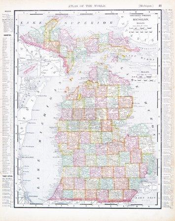 Antique Map of Michigan, MI, United States, USA