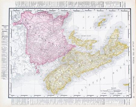 Antique Map Canadian Maritime Provinces, Canada
