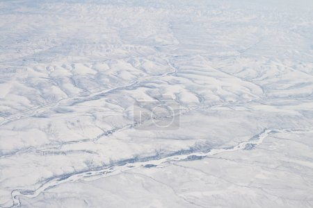 Snow Covered Verkhoyansk Mountains Olenyok River Aerial Northern