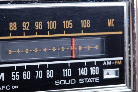 Photo for Close up of the station marker of an old radio - Royalty Free Image