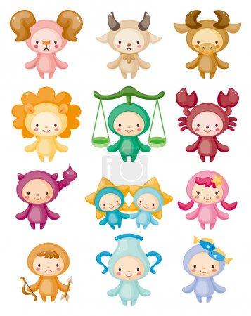 Illustration for Set of isolated cute zodiac symbols - Royalty Free Image