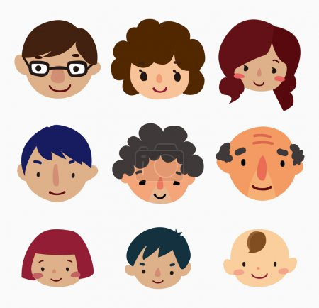 Illustration for Cartoon family face icons - Royalty Free Image