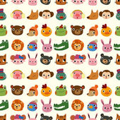 cartoon animal face pattern seamless