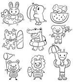 hand draw cartoon summer animal icon