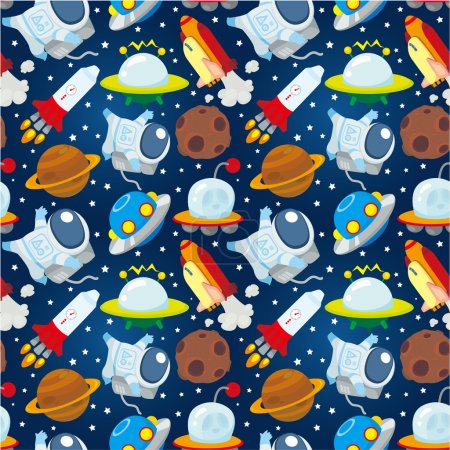 Illustration for Seamless space pattern - Royalty Free Image