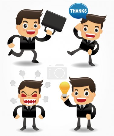 Illustration for Set of funny cartoon office worker - Royalty Free Image