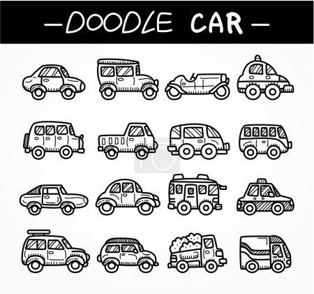 Doodle cartoon car icon set