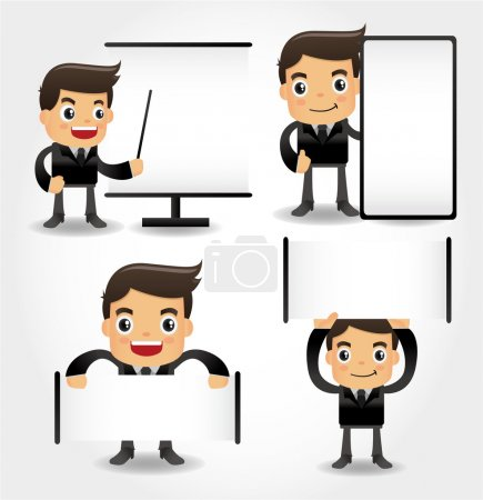 Illustration for Set of funny cartoon office worker icon - Royalty Free Image