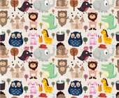 Cartoon animal seamless pattern