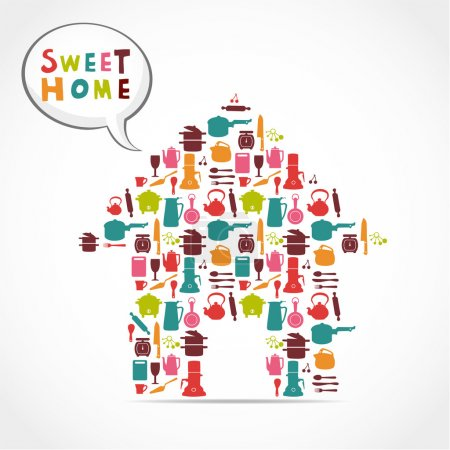 Illustration for Sweet home card - Royalty Free Image