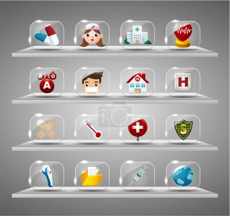 Cartoon Medical And Hearth,Transparent glass Button