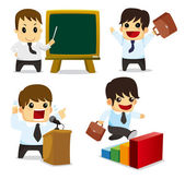 4 funny cartoon office worker set icons