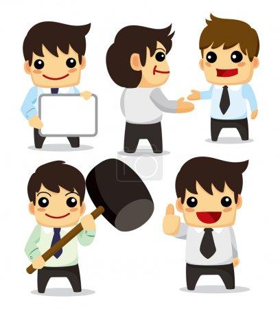 Illustration pour 4 drôle de jeu de travailleur de bureau dessin animé, icônes - image libre de droit