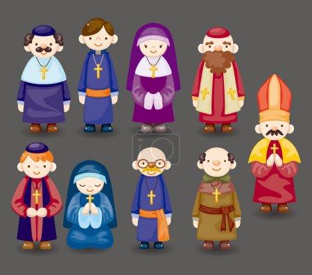 Illustration pour Icône de prêtre de bande dessinée - image libre de droit