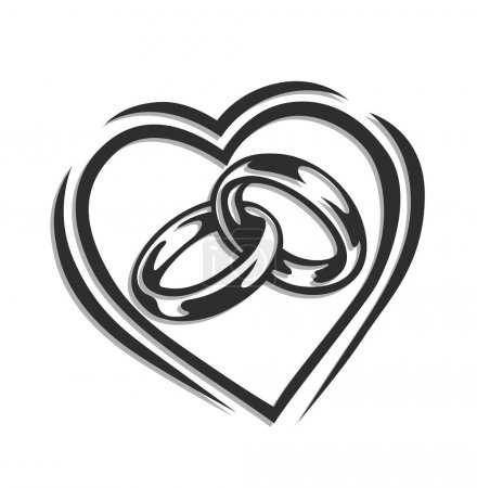 Illustration for Wedding ring in heart vector illustration isolated on white background - Royalty Free Image