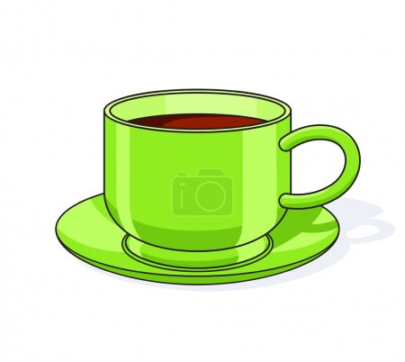 Green tea cup with plate
