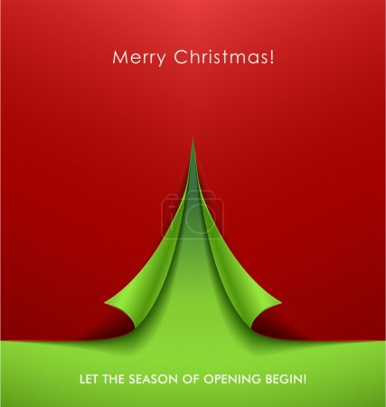 Photo for Creative Christmas tree formed from curled corner paper. Vector Illustration. - Royalty Free Image