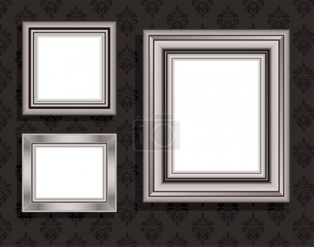 Vector Illustration of empty frames against black vintage wallpaper.