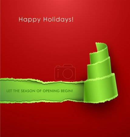 Photo for Torn paper in the shape of Christmas tree. Vector Illustration - Royalty Free Image