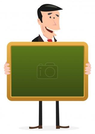 Illustration pour Illustration d'un dessinateur tenant un tableau noir d'école - image libre de droit