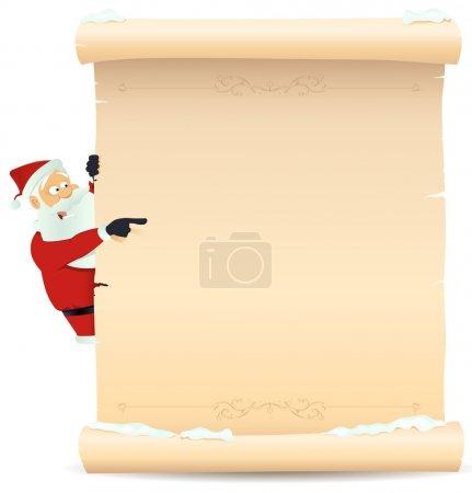 Illustration pour Illustration du Père Noël pointant signe de parchemin de Noël pour enfants cadeau ou jouets liste de souhaits - image libre de droit