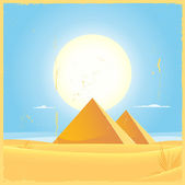 Illustration of two Giza egyptian pyramids inside desert and dunes environment