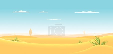 Illustration of a cartoon desert landscape going d...