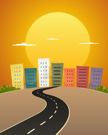 Illustration for Illustration of a cartoon city street road in the sunrise - Royalty Free Image