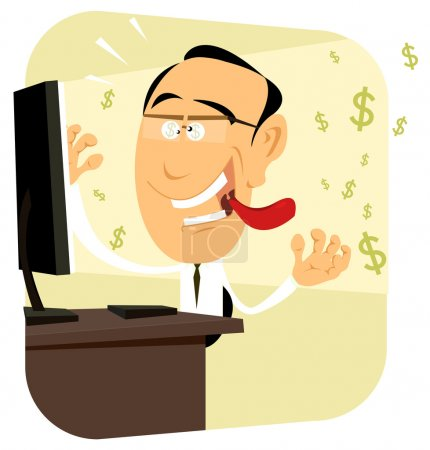 Illustration for Illustration of a crazy trader going sick with money on his computer - Royalty Free Image