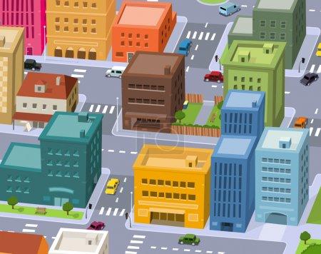 Photo pour Illustration d'une scène de ville de dessin animé, avec vue aérienne du trafic du centre-ville - image libre de droit